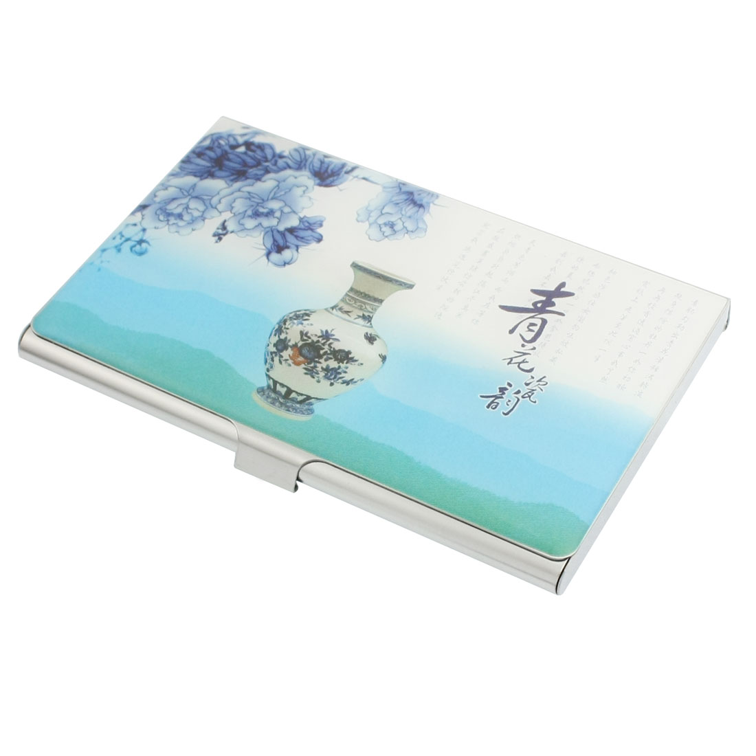 Mirror Polish Blue and White Porcelain Pattern Business Card Holder