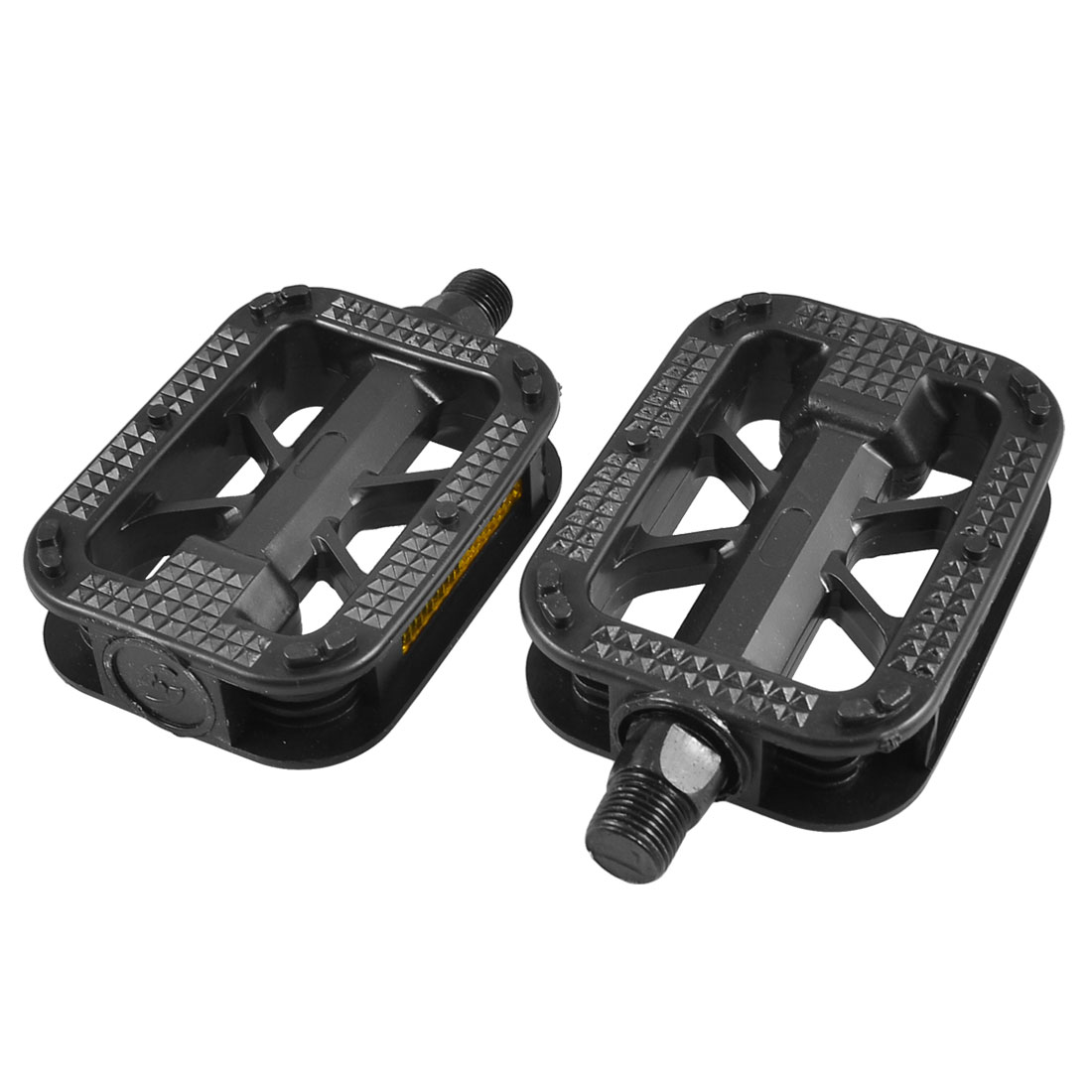 14mm Thread Mountain Road Bike Black Plastic Platform Pedals 2 Pcs