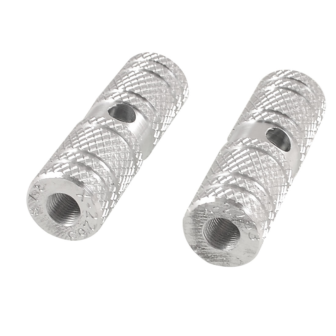 2 Pcs Aluminum Antislip Groove Design Bicycle Bike Axle Foot Pegs Silver Tone
