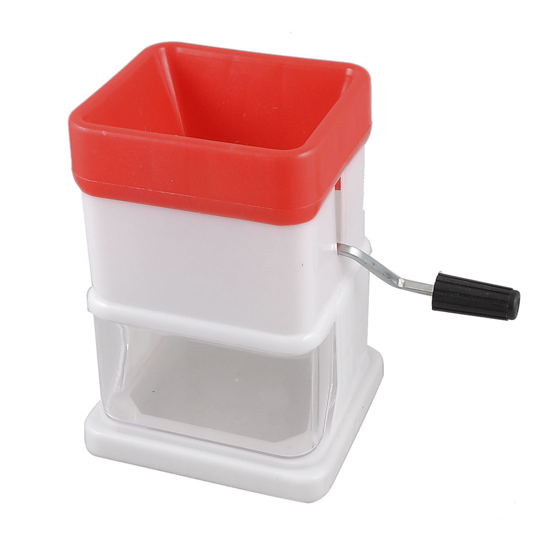 Kitchen Red White Plastic Hand Operated Rotary Vegetable Grater Shredder