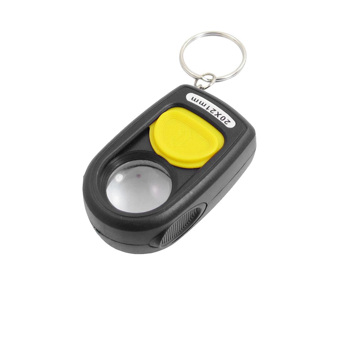 Pocket 21mm Dia Multiple Slide Switch Magnifying Glass Key Ring