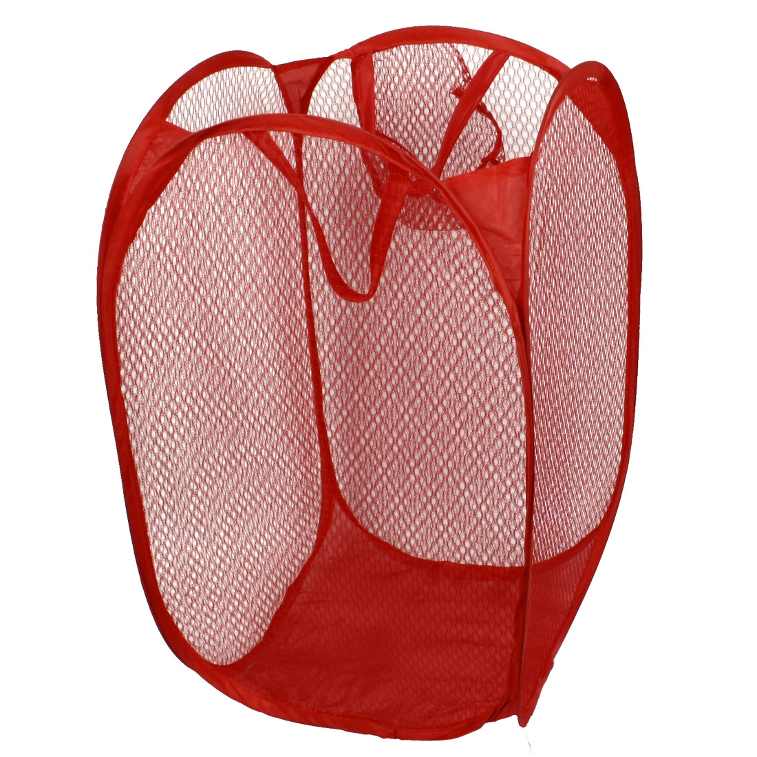 Household Dirty Clothes Laundry Folding Mesh Bag Basket Holder Red