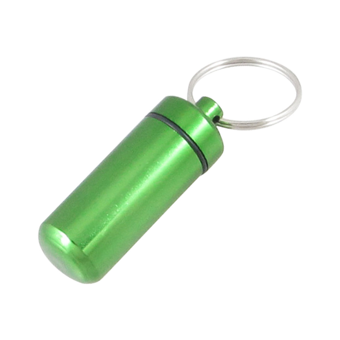 Pocket Size Green Aluminum Pill Box Cache Container Bottle w Key Ring