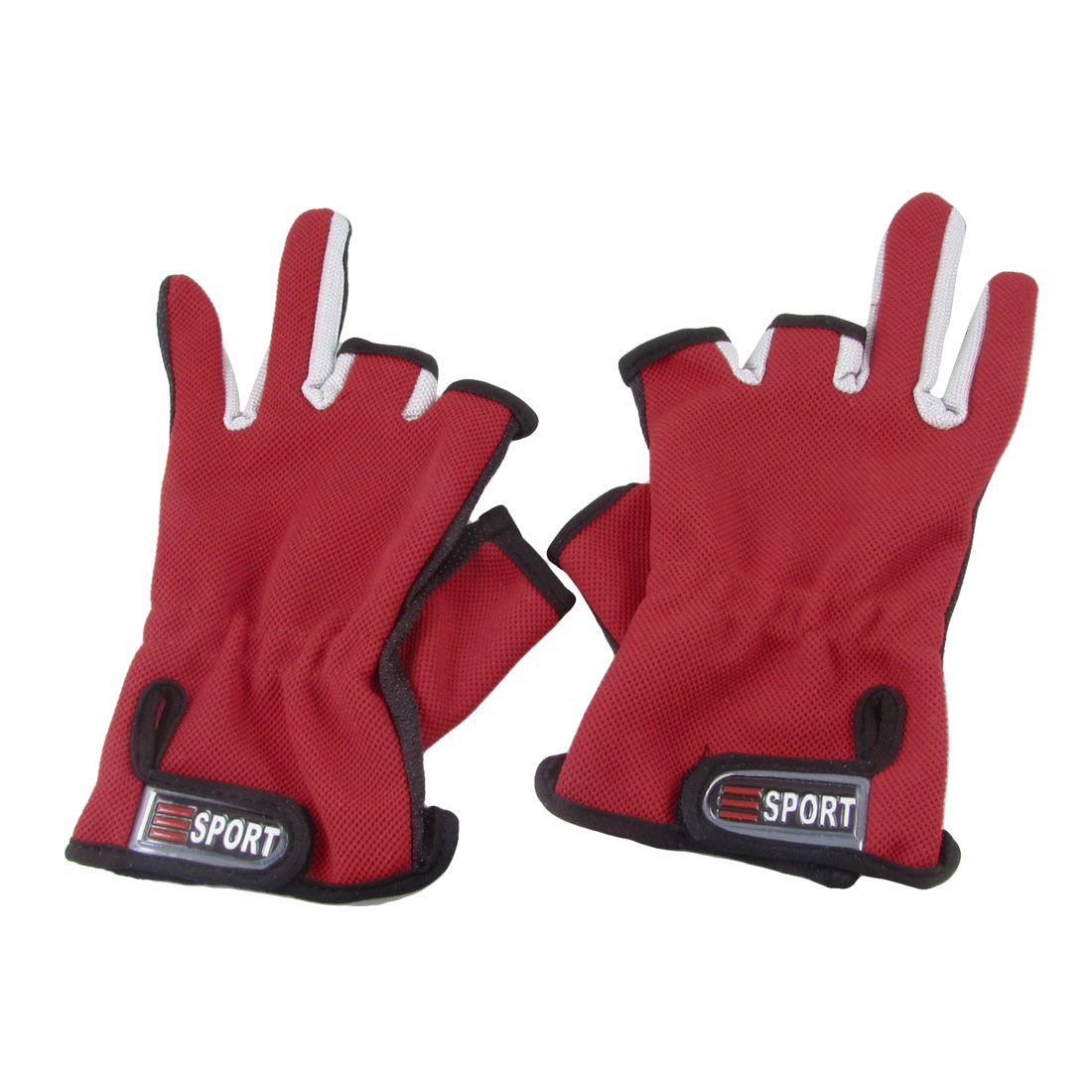 Pair Nylon Anti Slip Hand Fishing Two Full Fingers Gloves Three Tone