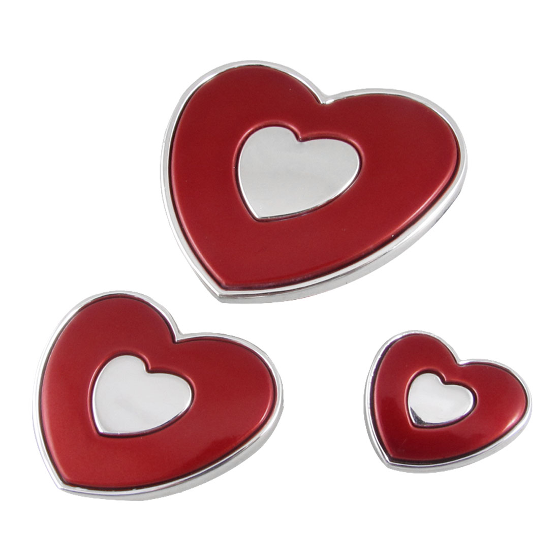 3 Pcs Decorative Red Heart Slim Door Guard Protector for Auto Car Truck