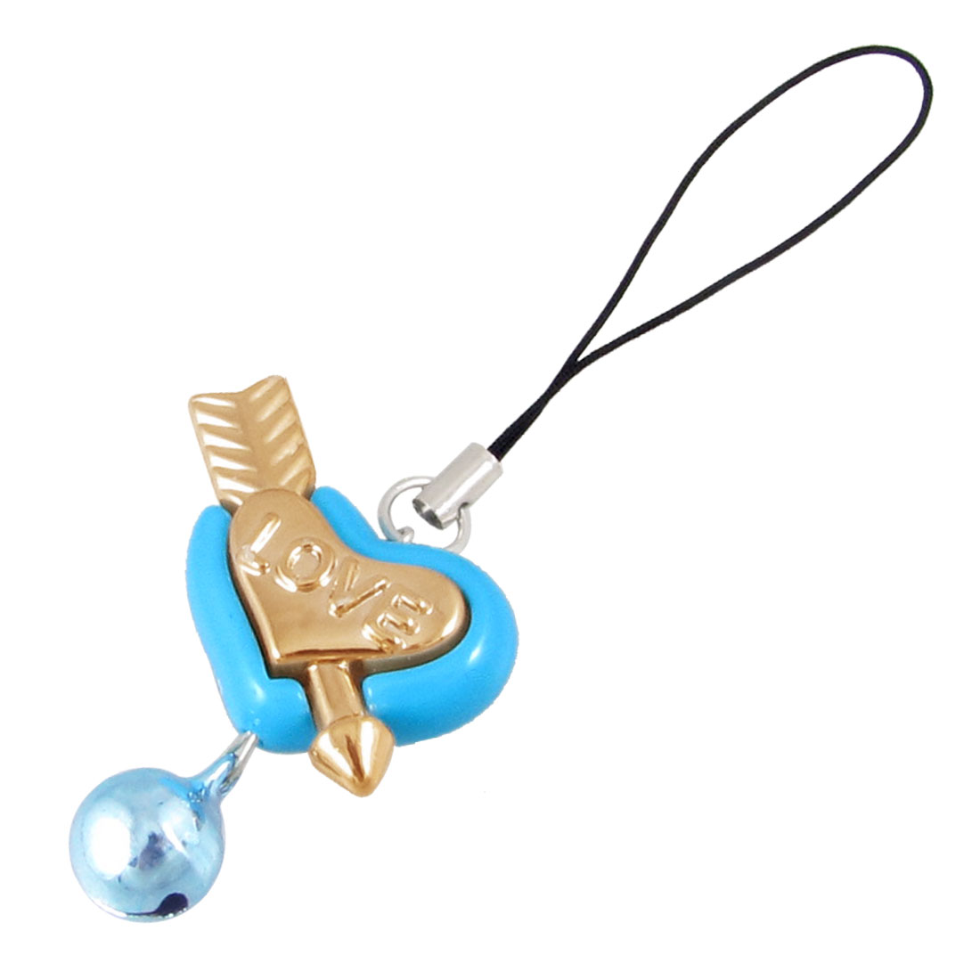 "4"" Long Blue Heart Shaped Bells Accent Pendent for Lady"