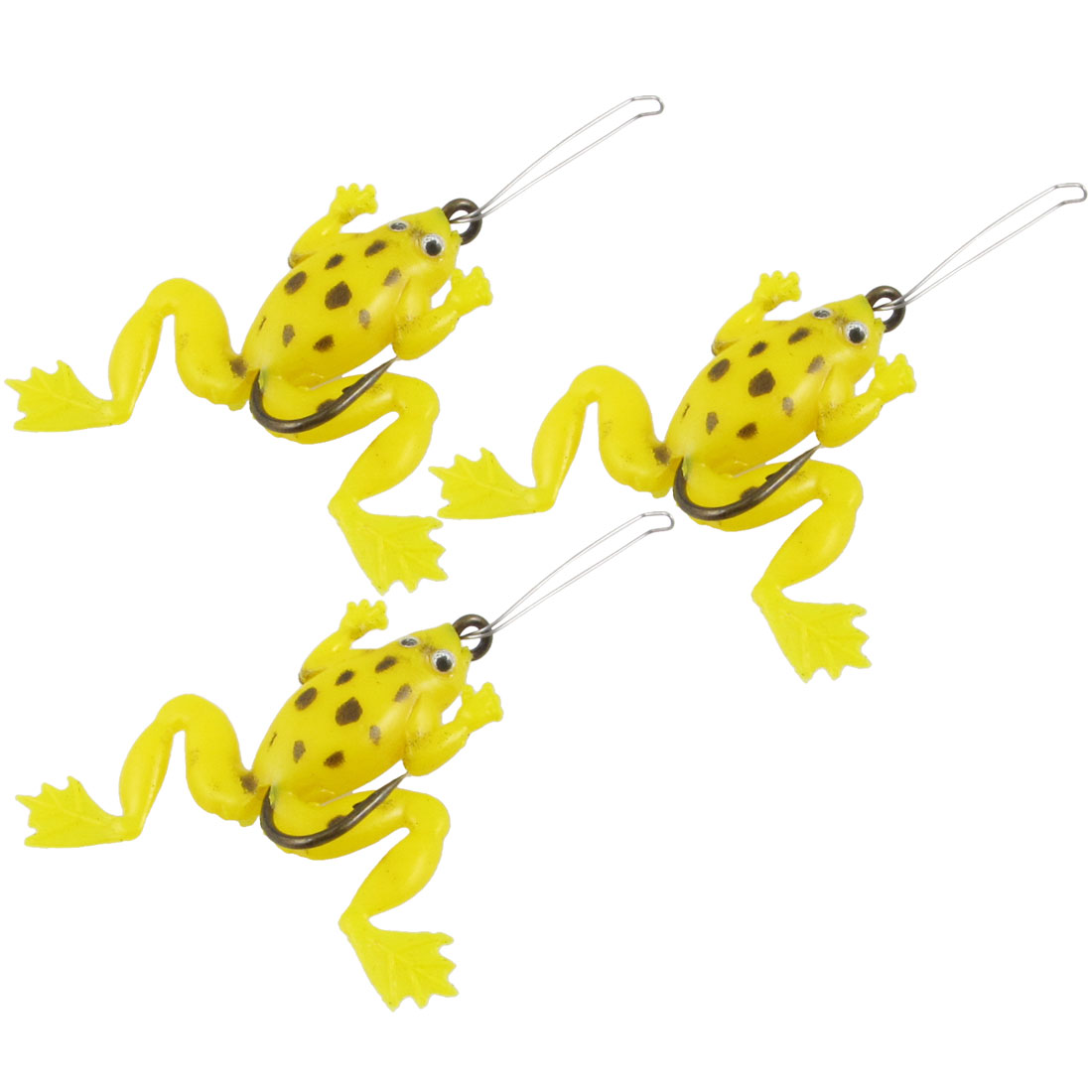 3 Pcs Manmade Yellow Silicone Frog Fishing Baits Lures Stosh Angling Tackle