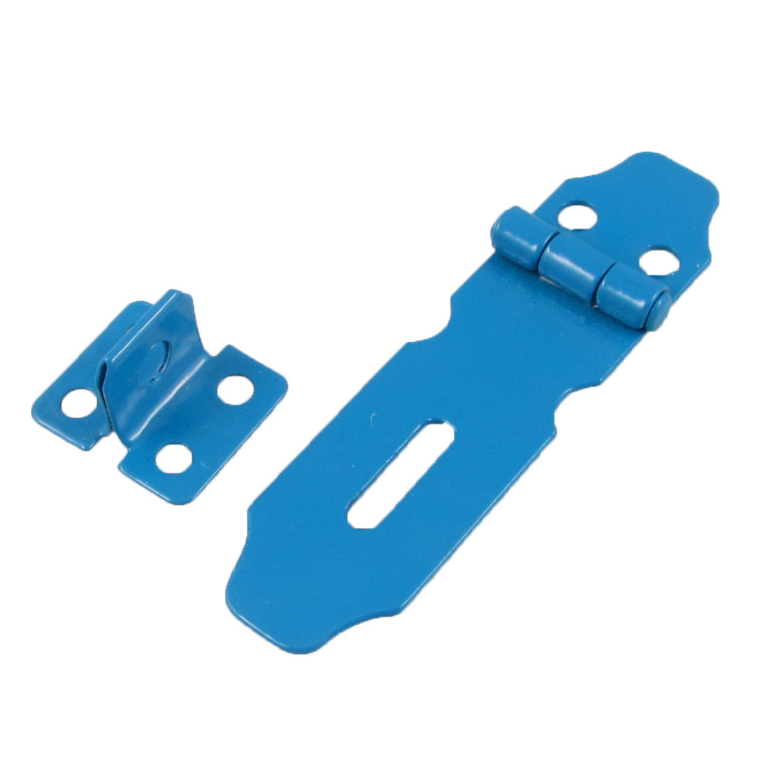 "Blue Metal Staple 3"" Hasp Set for Cupboard Cabinet Gate Doors"