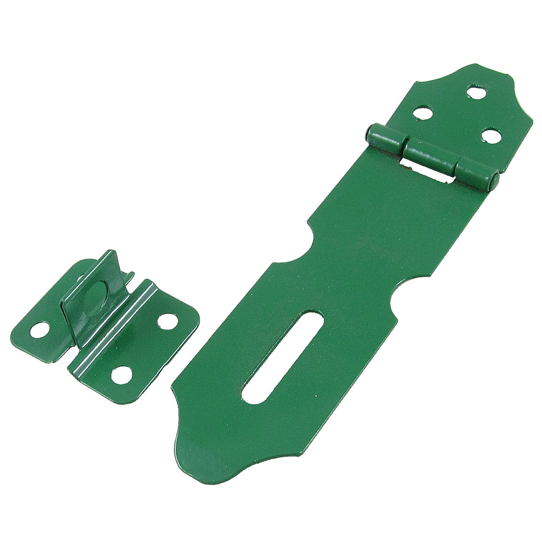 "Green Metal Staple 5"" Hasp Set for Drawer Cabinet Gate Doors"