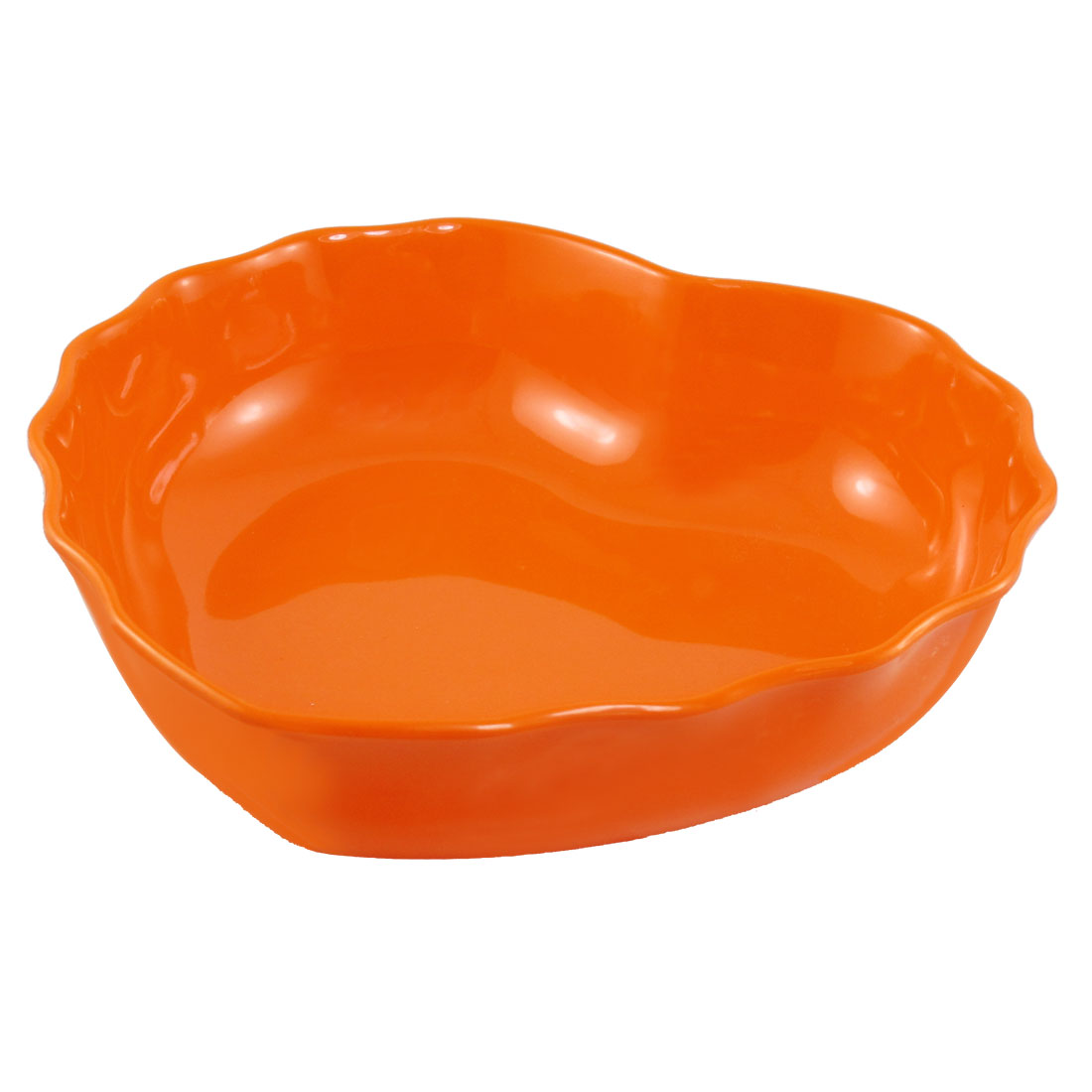 Orange Wavy Hem Fruit Vegetable Plate Container for Home Kitchen
