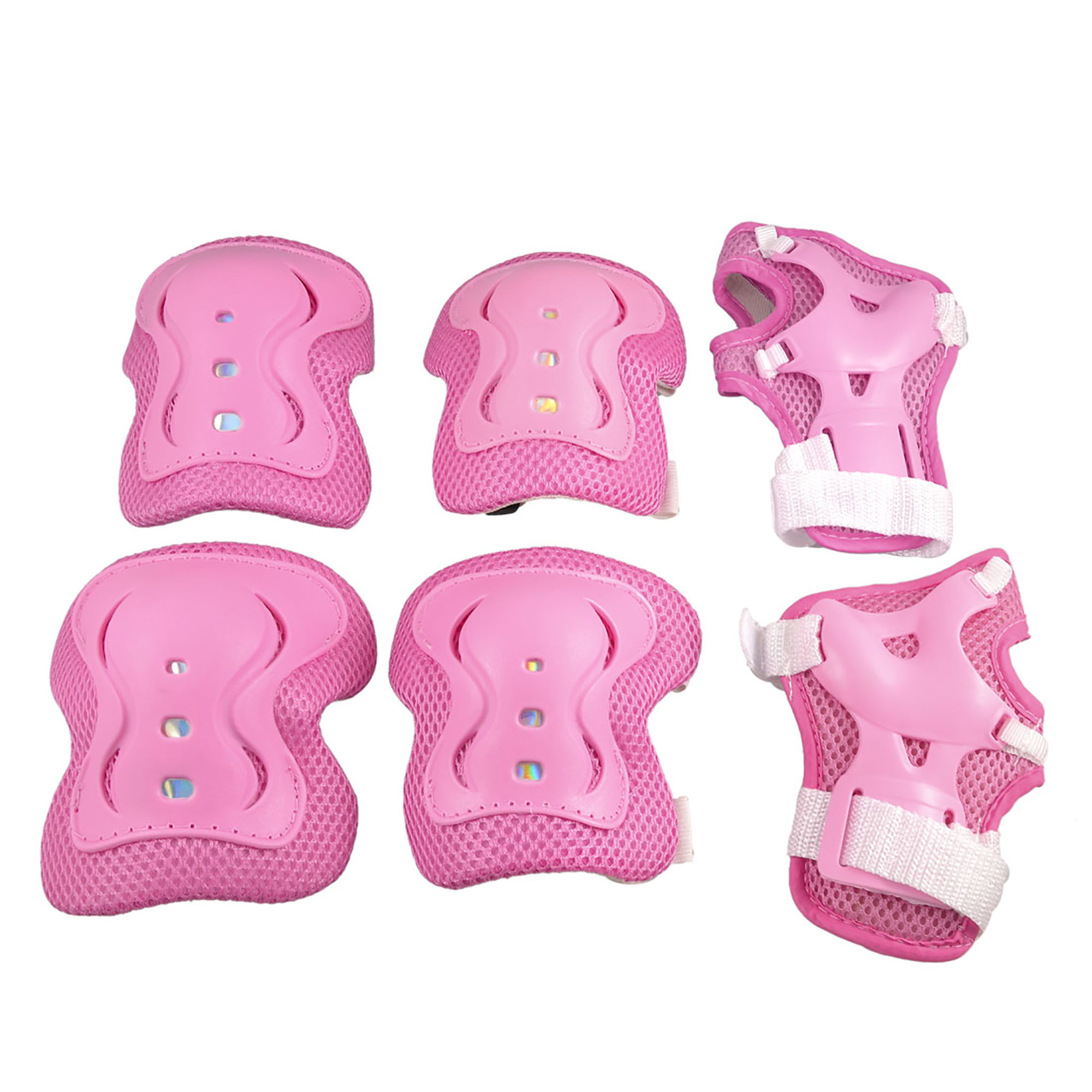 Cycling Roller Skating Plastic Wrist Elbow Knee Protective Pads Support Brace Pink White 6 in 1 Set