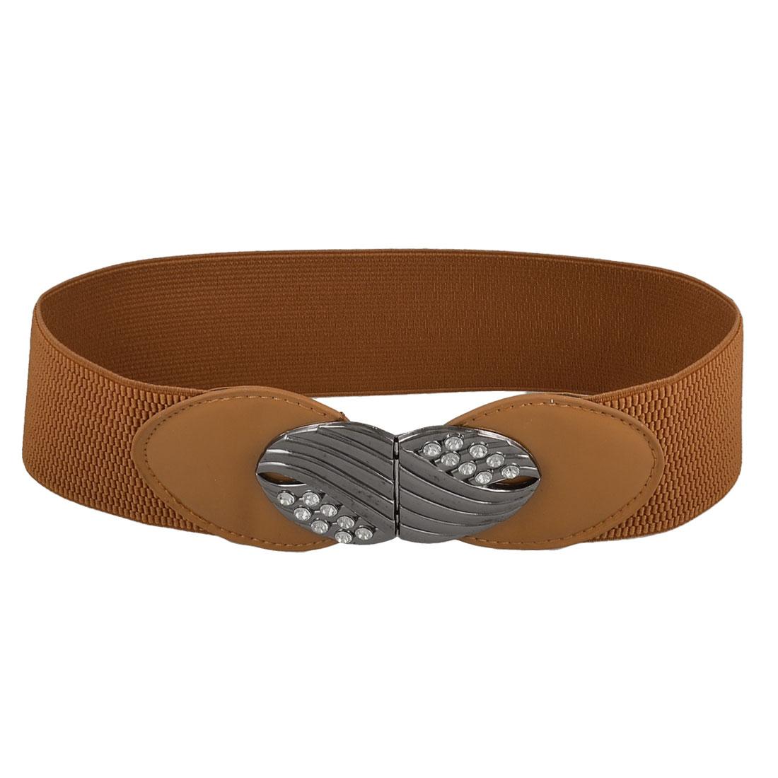 Women Rhinestones Accent Interlocking Buckle Brown Elastic Cinch Waist Belt