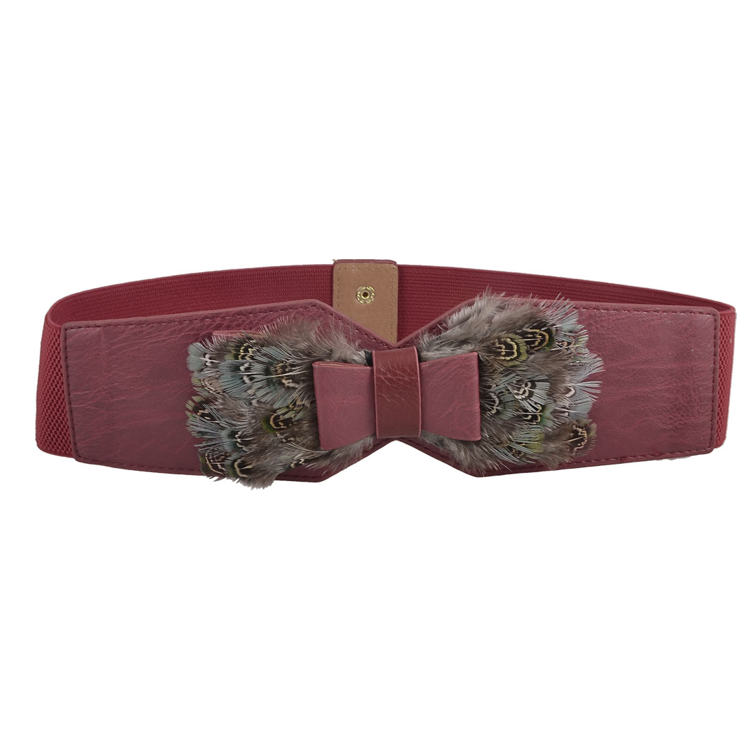 "Lady Gray Faux Feather Detail 2.4"" Width Stretchy Waistband Belt Red"