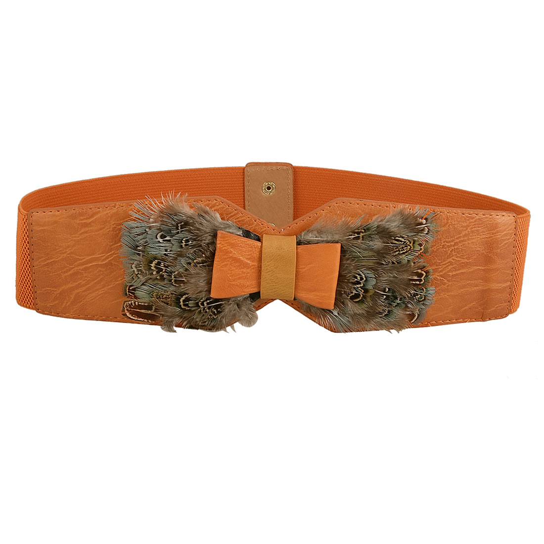 Orange Faux Leather Bowknot Decor Stretchy Cinch Waistband Belt for Lady