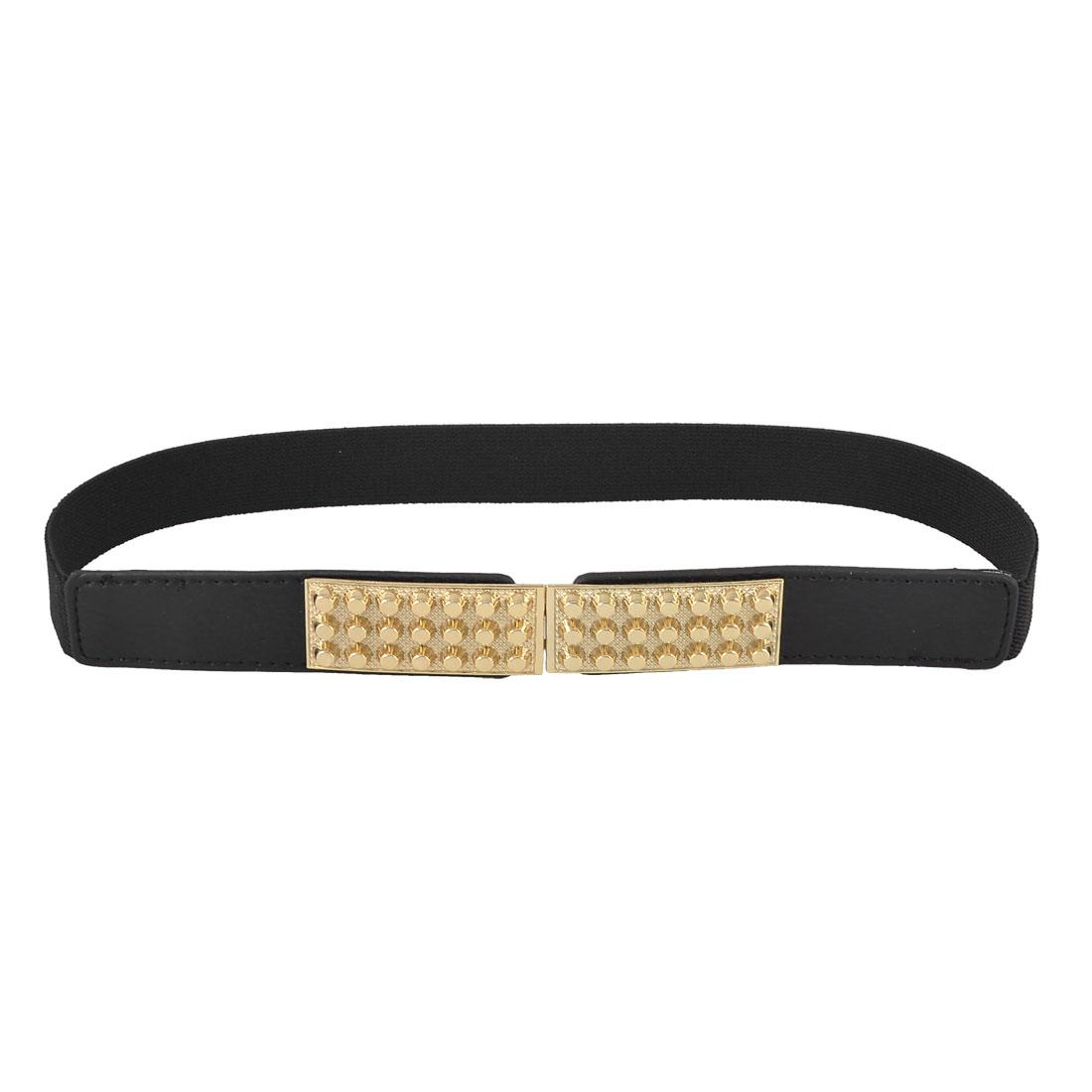 Lady Black Gold Tone Metal Studs Detail Interlocking Buckle Elastic Waist Belt