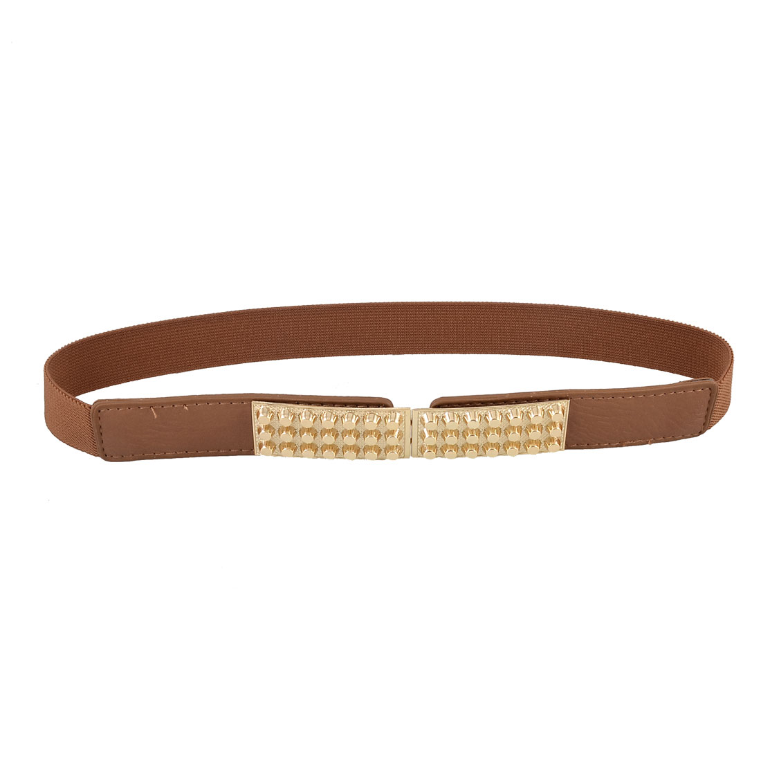 Brown Gold Tone Interlocking Buckle Stretchy Skinny Cinch Waistband Belt
