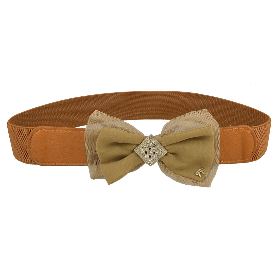 Lady Dual Layer Bowknot Detail Press Stud Button Stretch Waistband Belt Brown