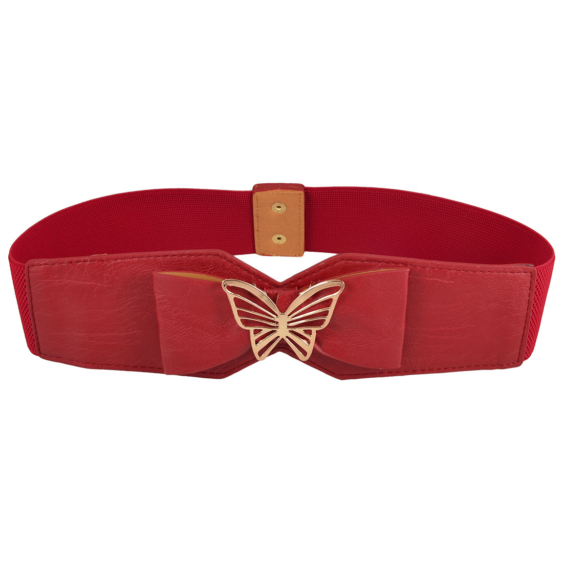 Lady Gold Tone Hollow Butterfly Press Button Buckle Red Elastic Cinch Belt