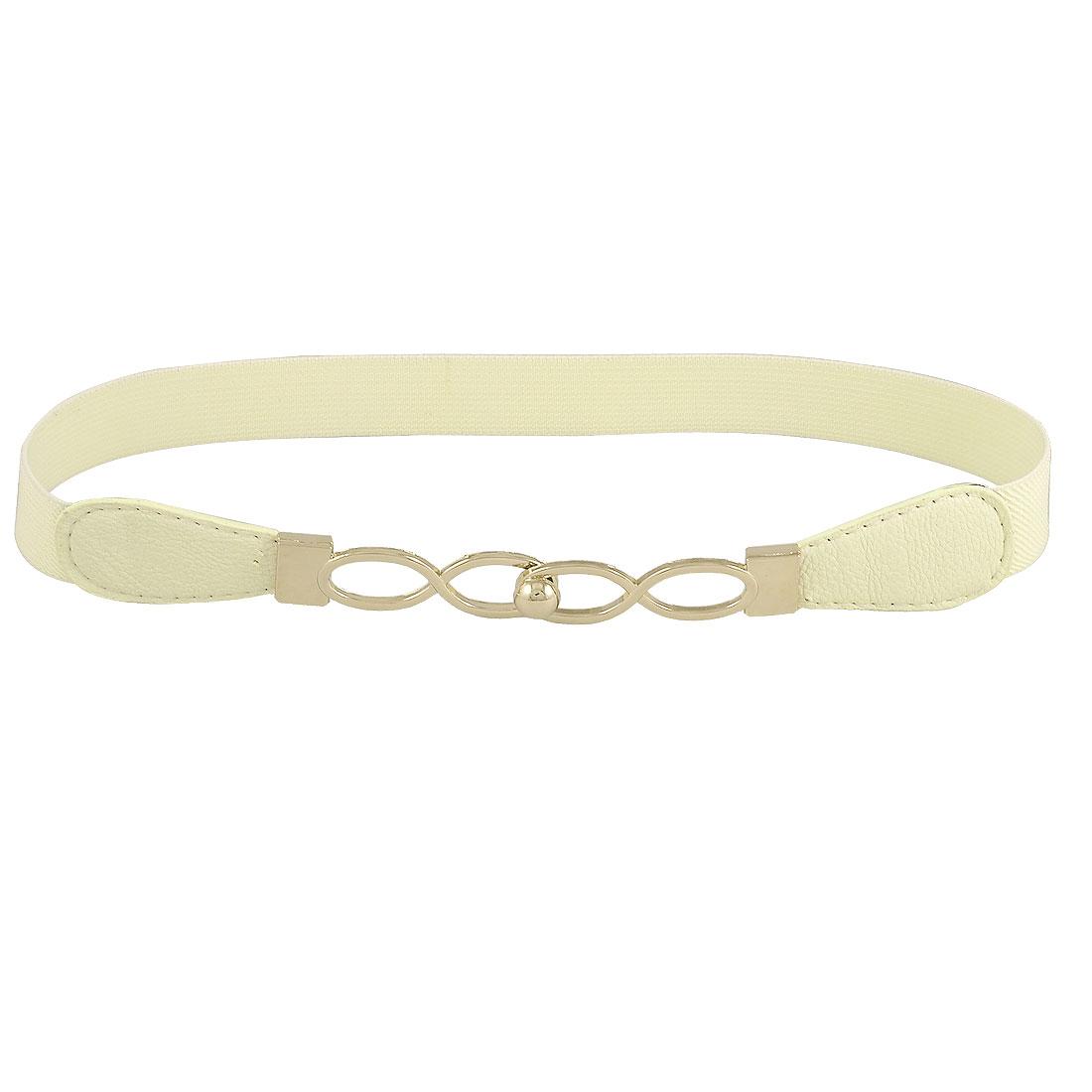 Lady Gold Tone Eight Shaped Buckle Elastic Skinny Cinch Waistband Belt Beige