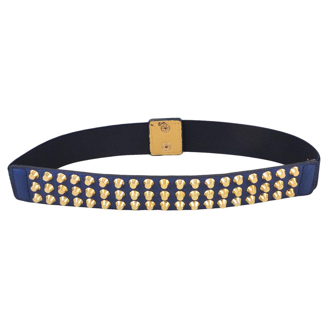 Dark Blue Gold Tone Studs Decor Press Stud Button Stretch Waist Belt for Lady