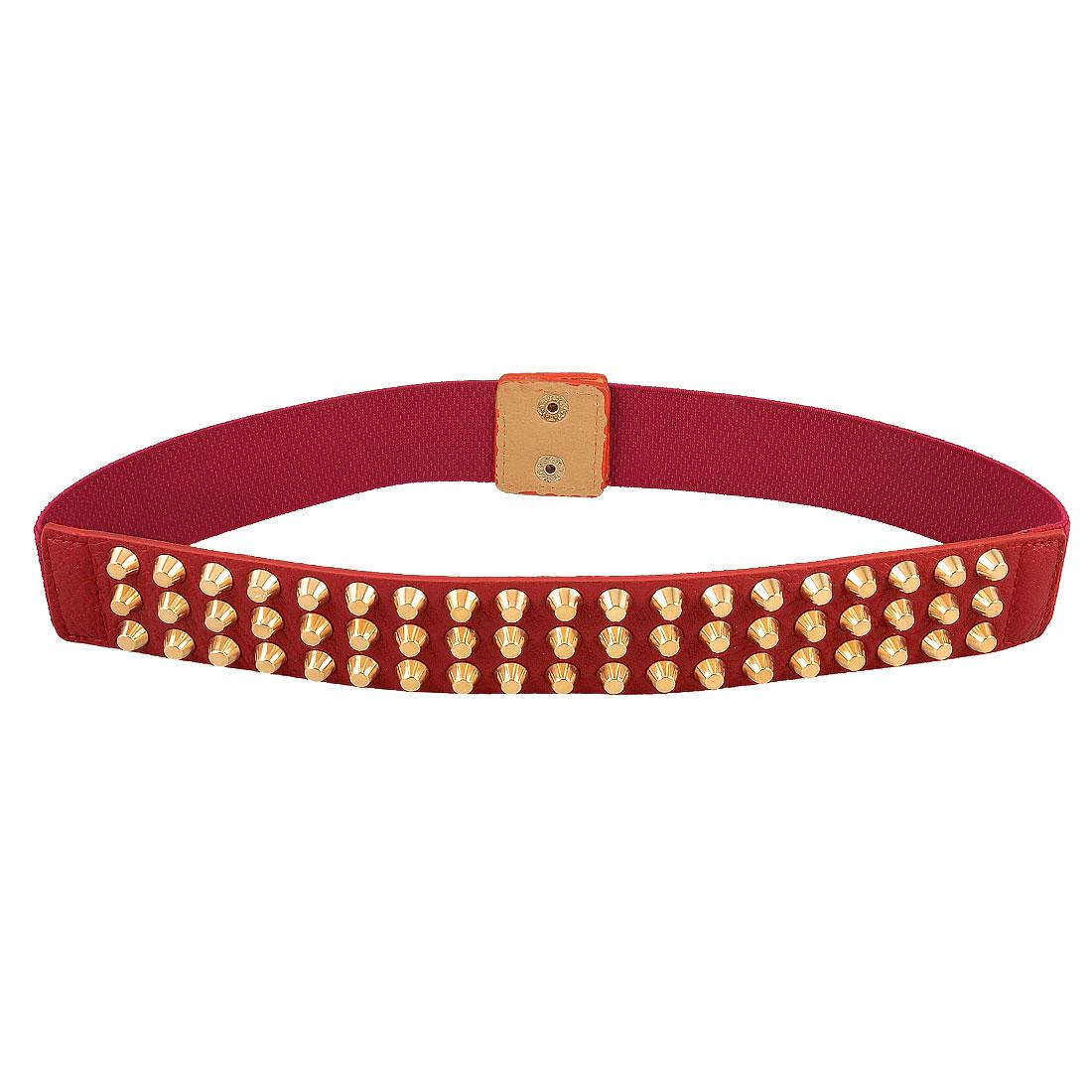 Women Press Stud Button Gold Tone Studs Decor Elastic Waistband Belt Red