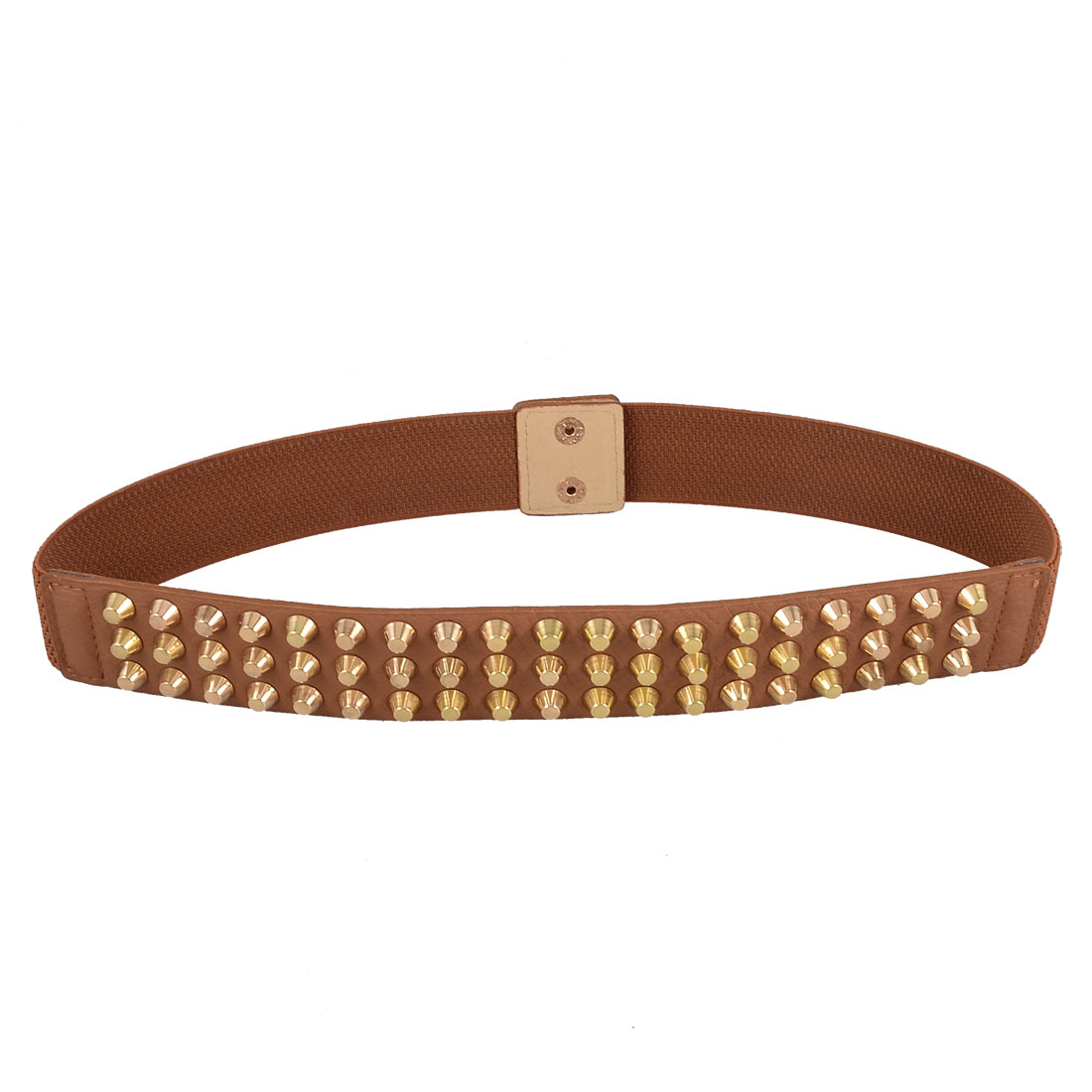 Women Press Stud Button Gold Tone Studs Decor Elastic Waistband Belt Brown