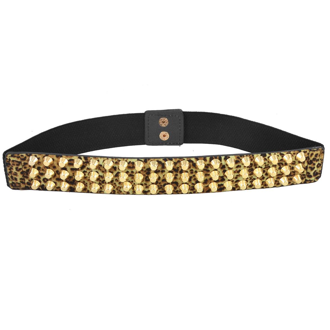 Lady Gold Tone Press Stud Button Leopard Pattern Elastic Waistband Belt Black