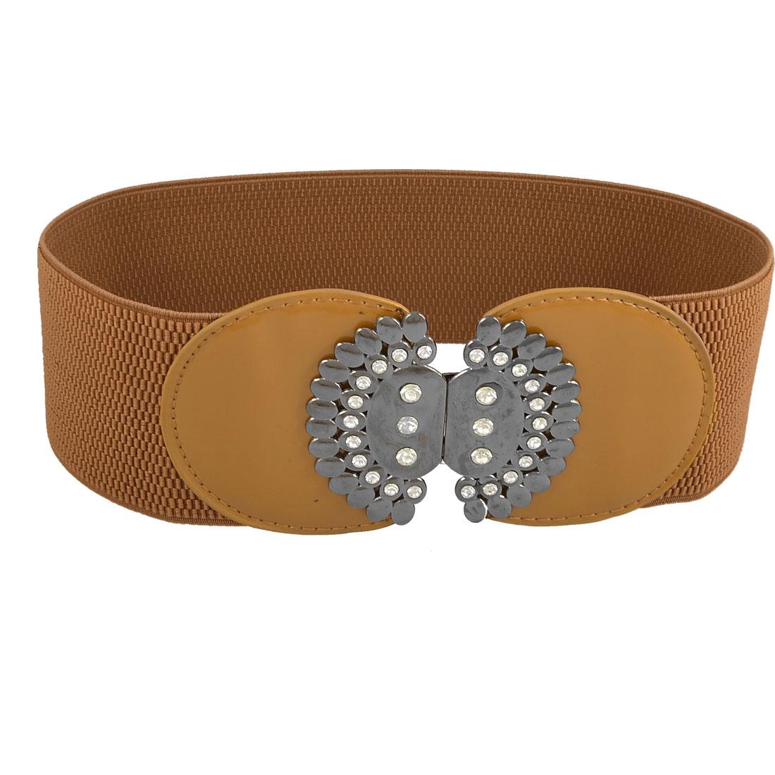 "Brown Metal Interlocking Buckle 2.9"" Width Stretch Waist Belt for Woman"