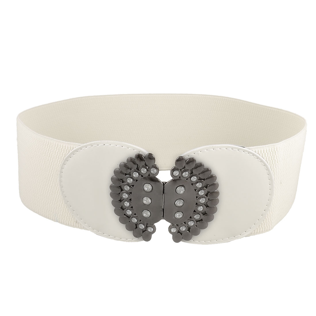 """White Metal Interlocking Buckle 2.9"""" Width Stretchy Waistband Belt for Woman"""