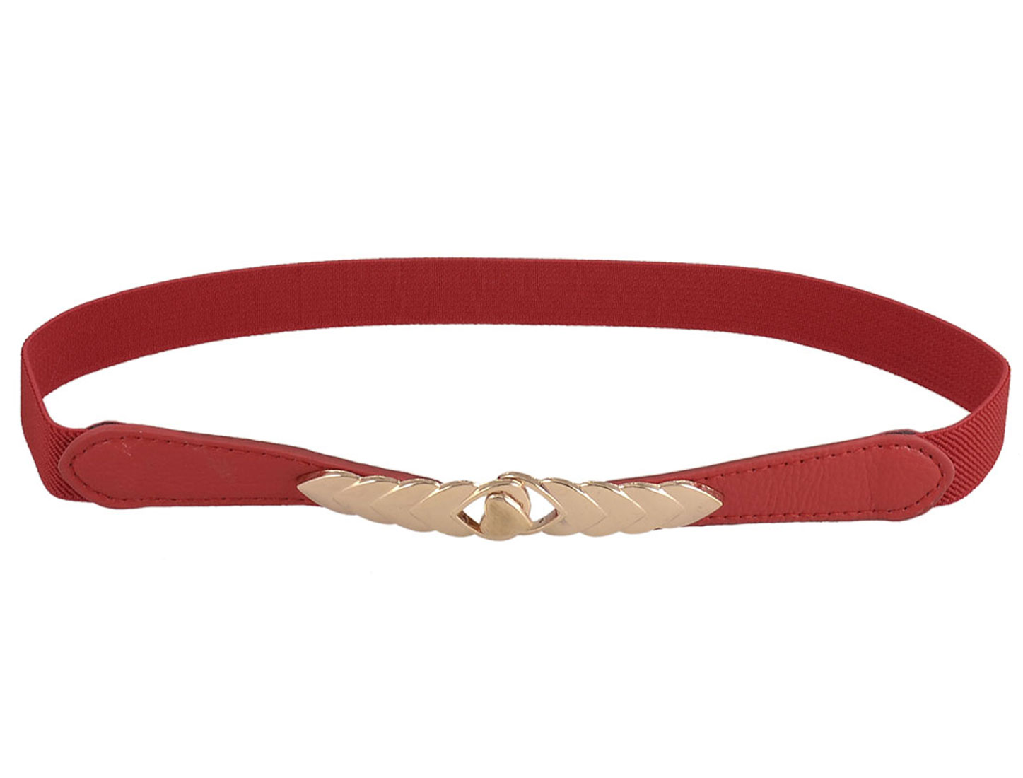 "Lady Red Gold Tone Metal Interlocking Buckle 0.8"" Width Thin Elastic Waist Belt"
