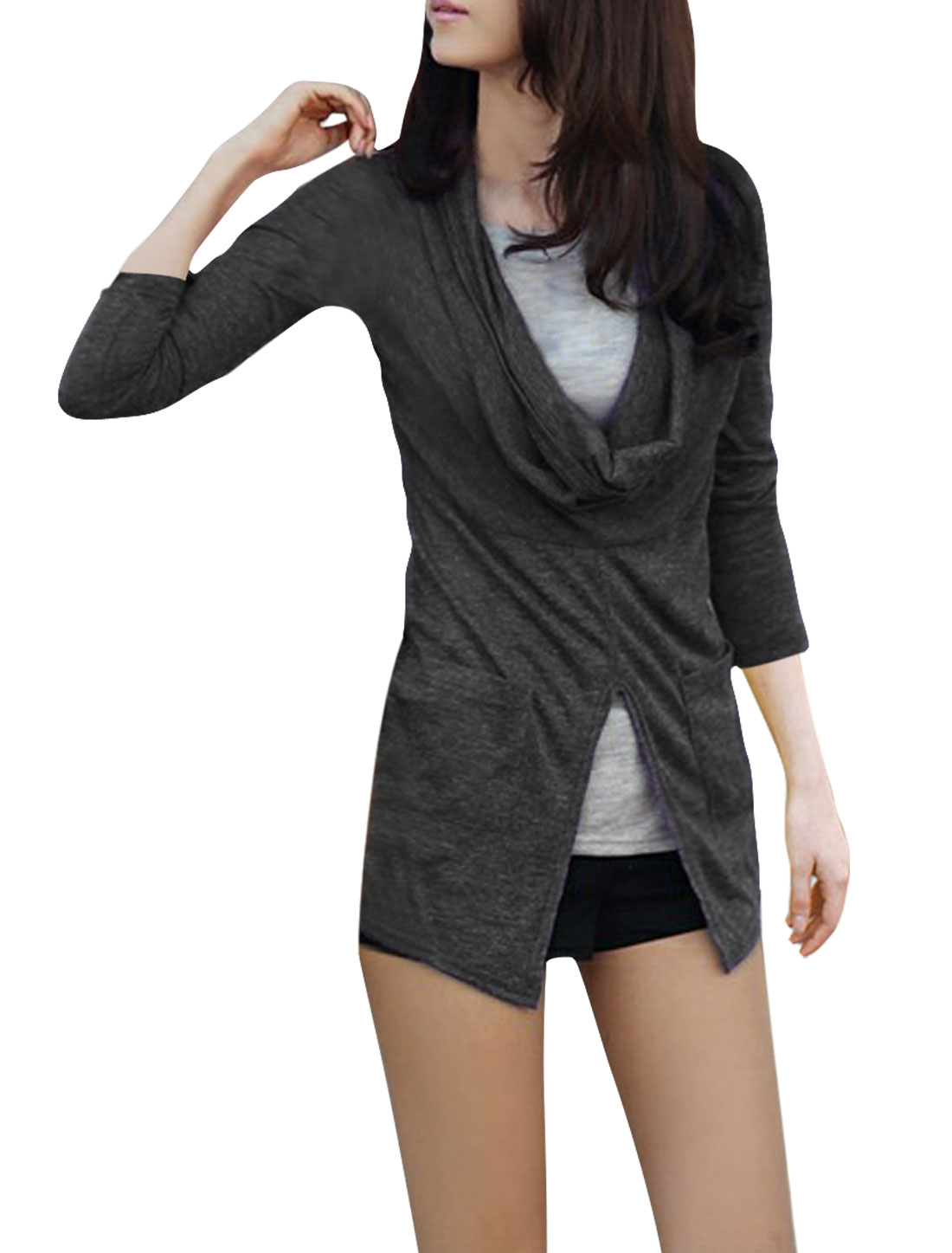 Ladies Dark Gray Cowl Neck Stretchy Flouncing Detail Split Shirt XS