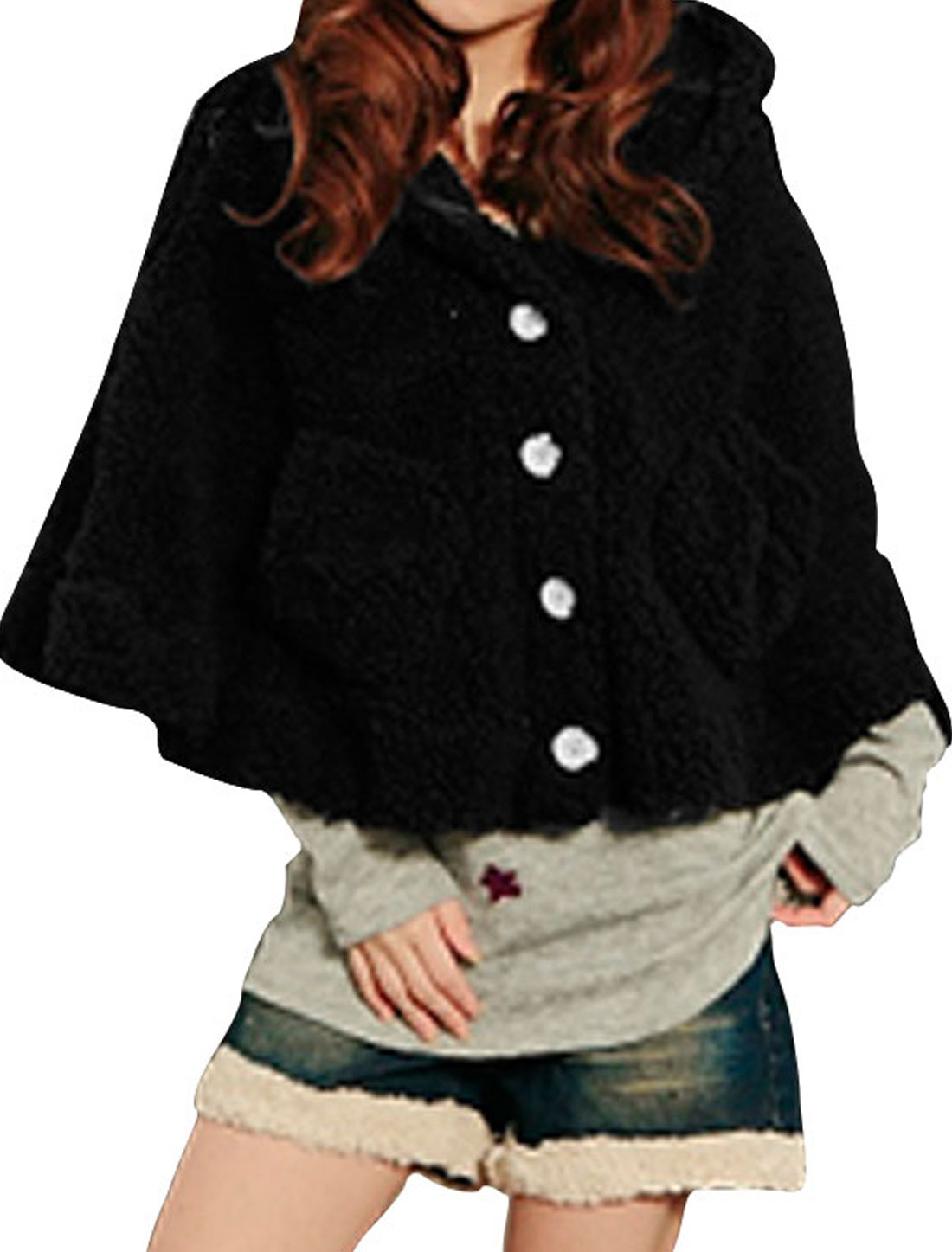 Ladies Black Bear Ear Detail Hooded Button Down Casual Poncho XS