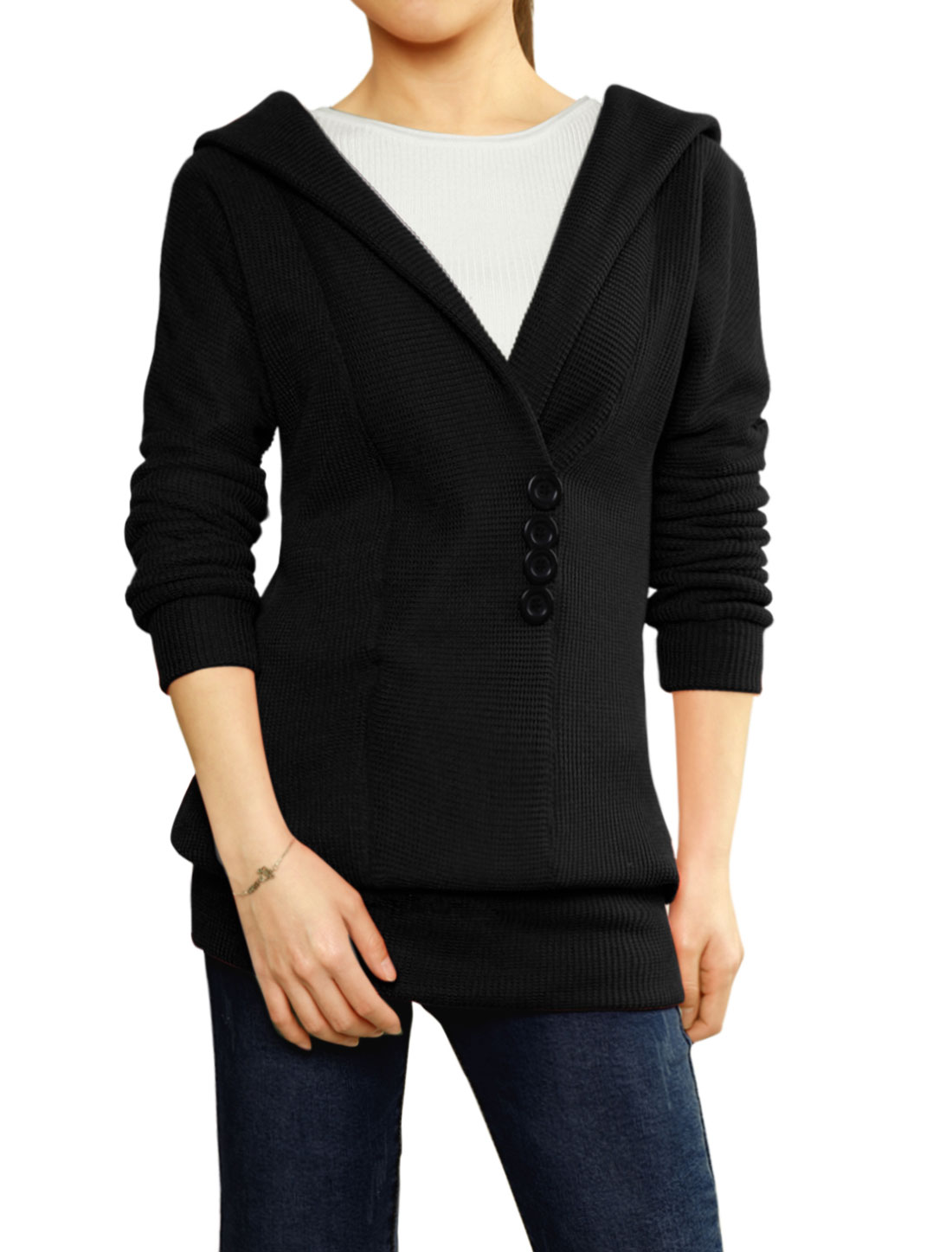 Ladies Black Long Sleeves Fleece Inner Pullover Tunic Sweater S