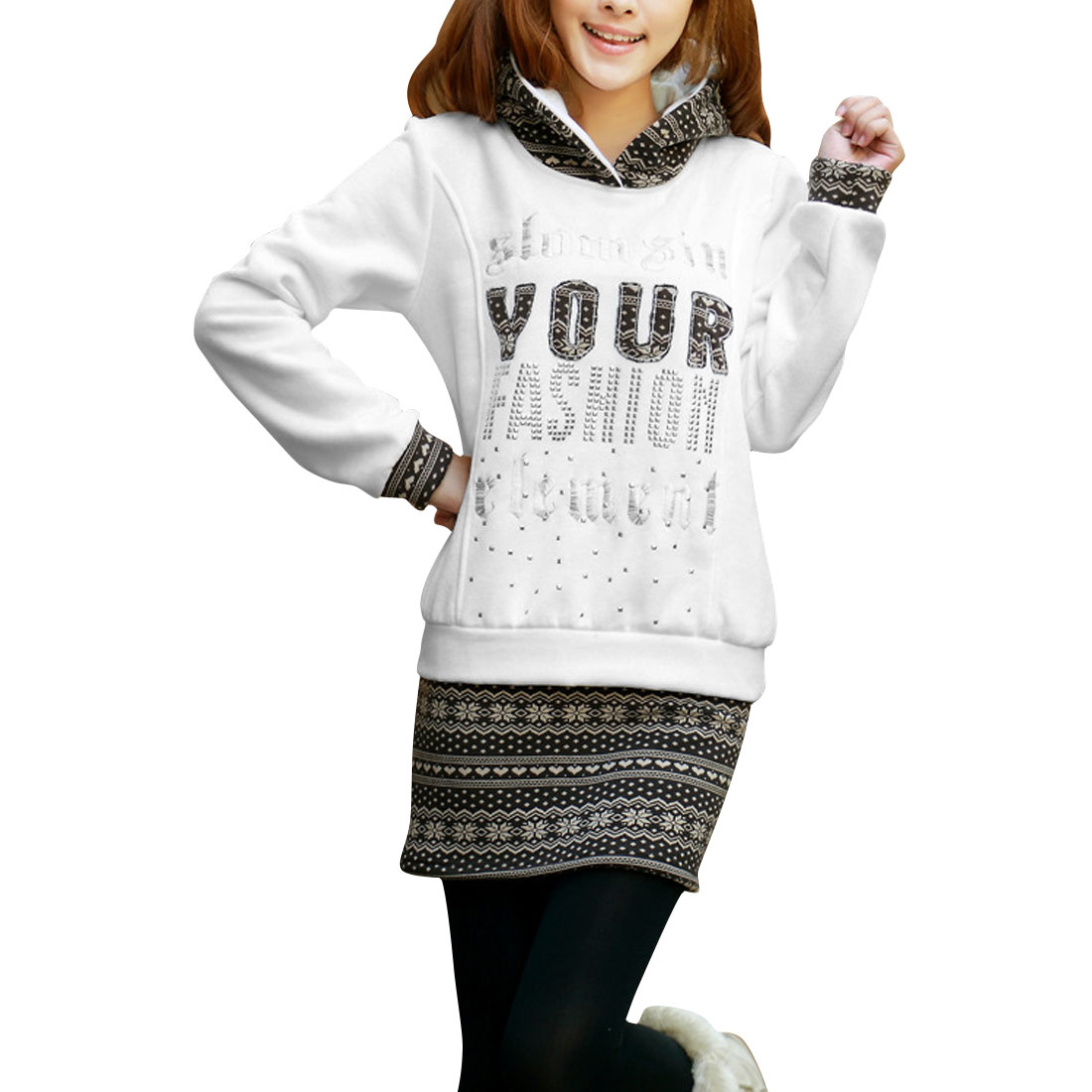 Ladies White Letters and Snowflake Pattern Casual Hoodie S