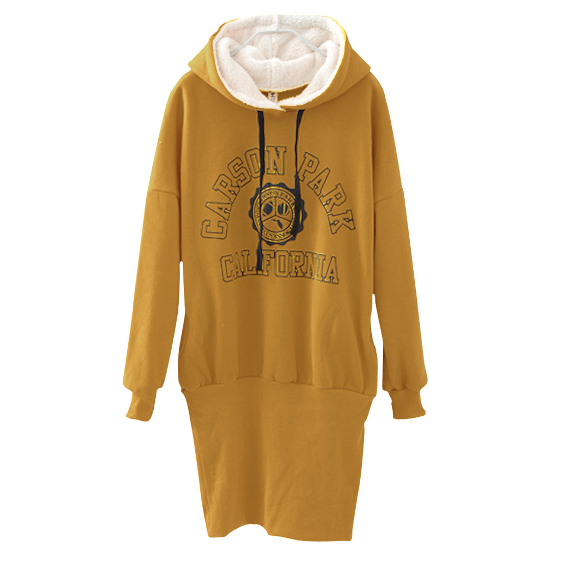 Ladies Yellow Long Sleeves Drawsring Hooded Pullover Hoodie S