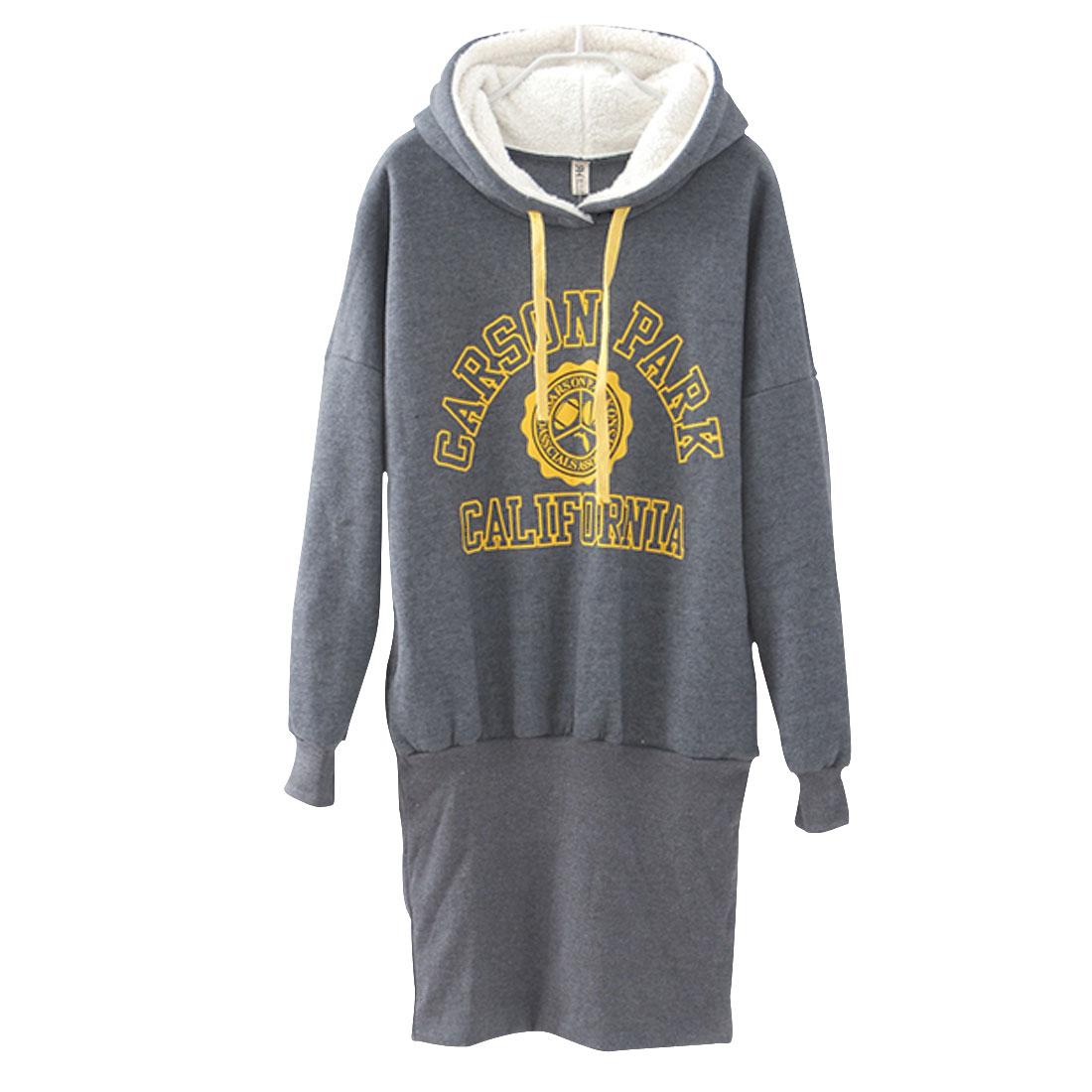 Ladies Gray Long Sleeves Fleece Inner Pullover Letters Hoodie XS