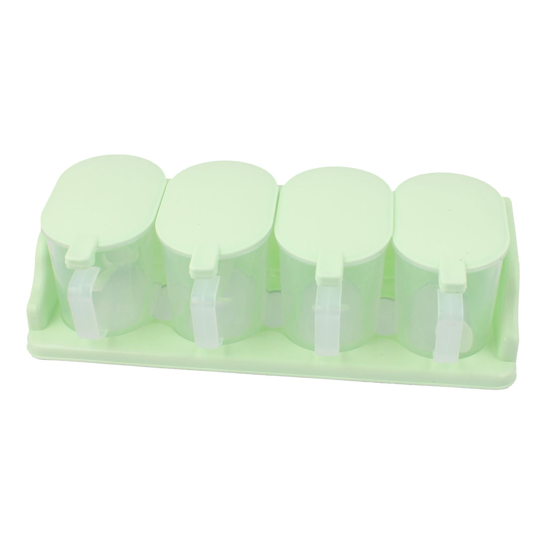 Green 4 Compartment Sauce Pepper Salt Holder Case w Spoons for Kitchen