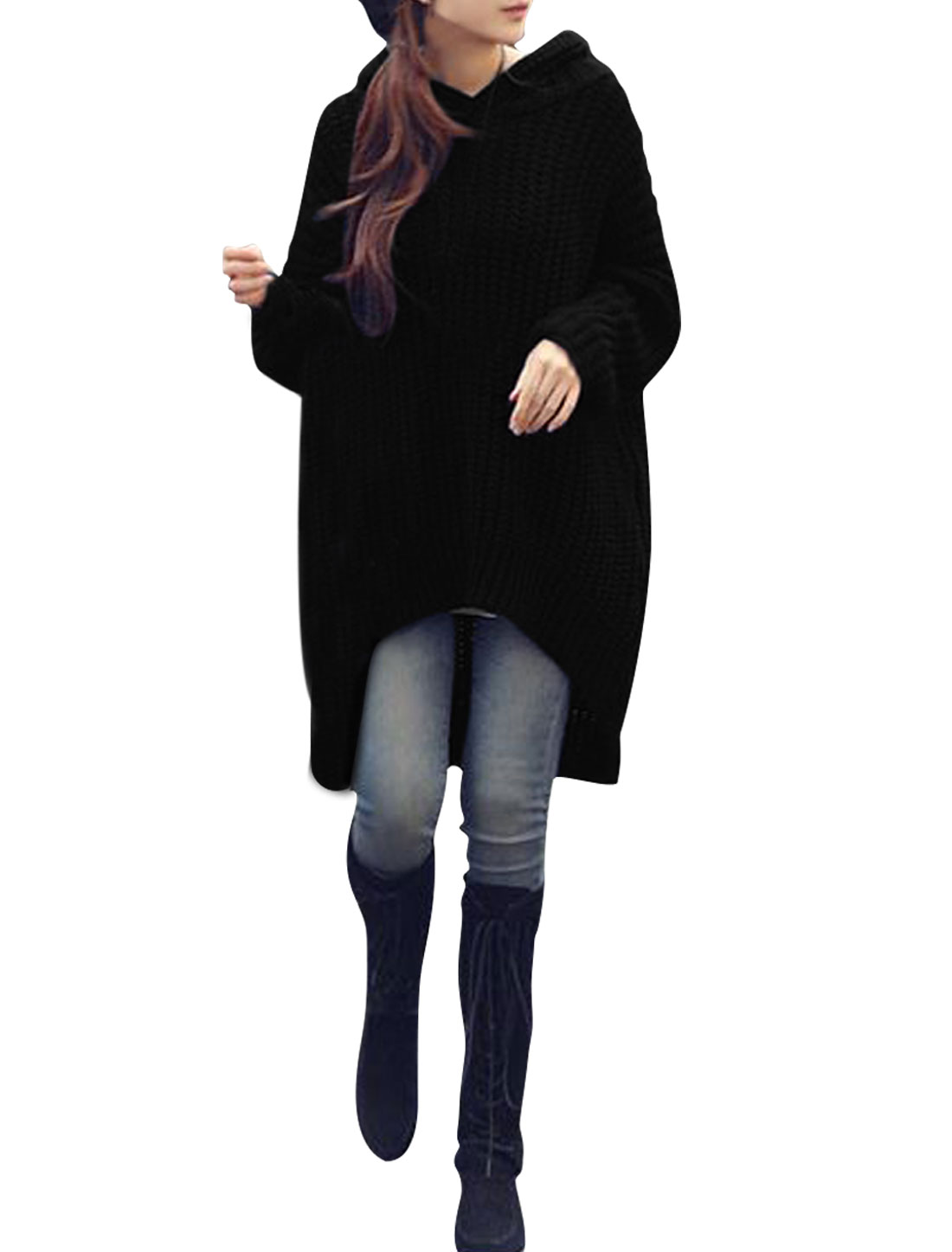 Lady Batwing Sleeves Irregular Hem Loose Tunic Hooded Sweater Black S