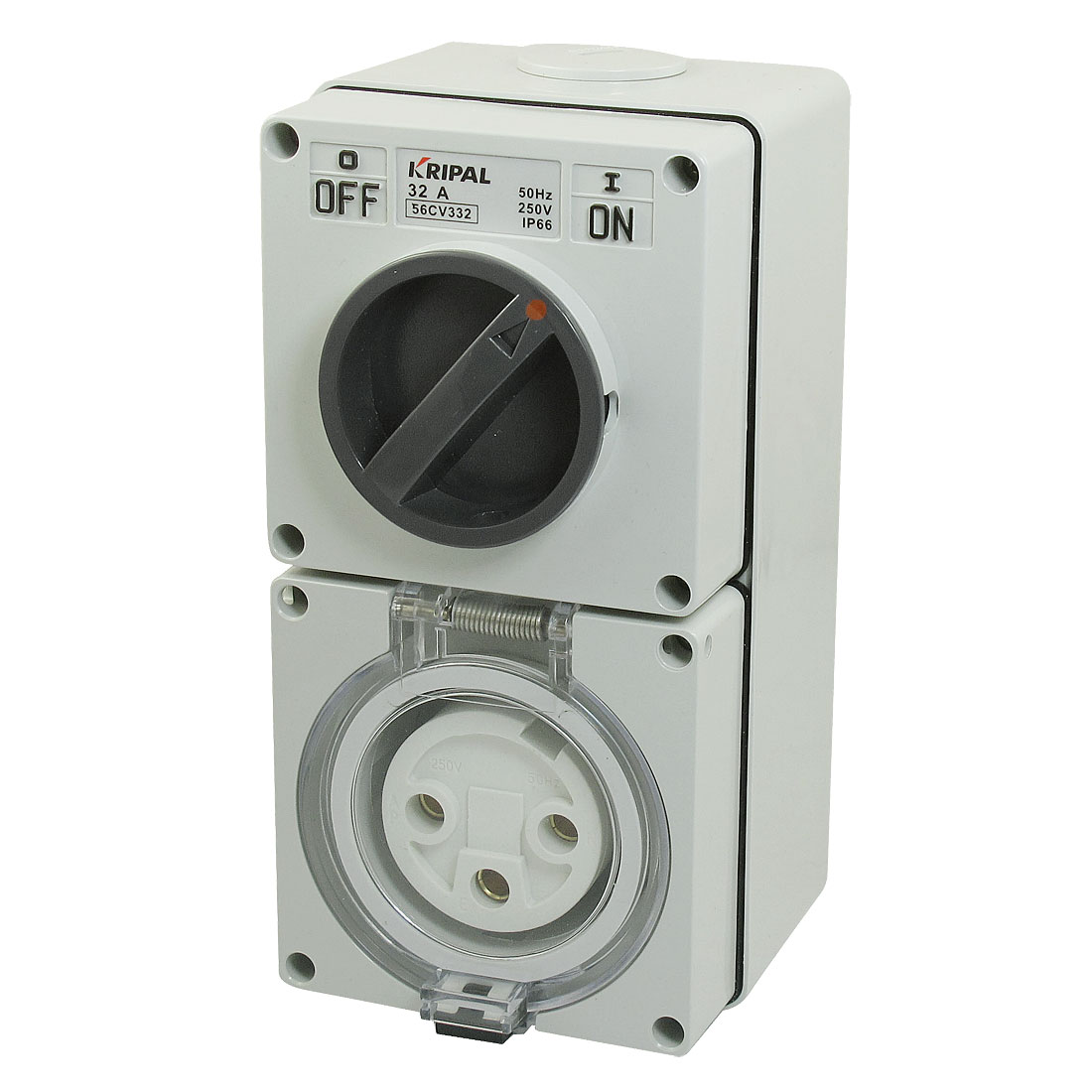 AC 250V 32A IP66 Two Phase 3 Round Pin 56CV332 Combination Switch w Socket