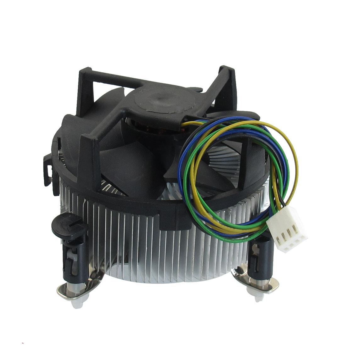12V DC 0.6A Black Silver Tone Round Shaped Couputer CPU Cooler Fan
