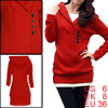 Ladies Red Long Sleeves Pullover Buttons Decor Tunic Sweater S