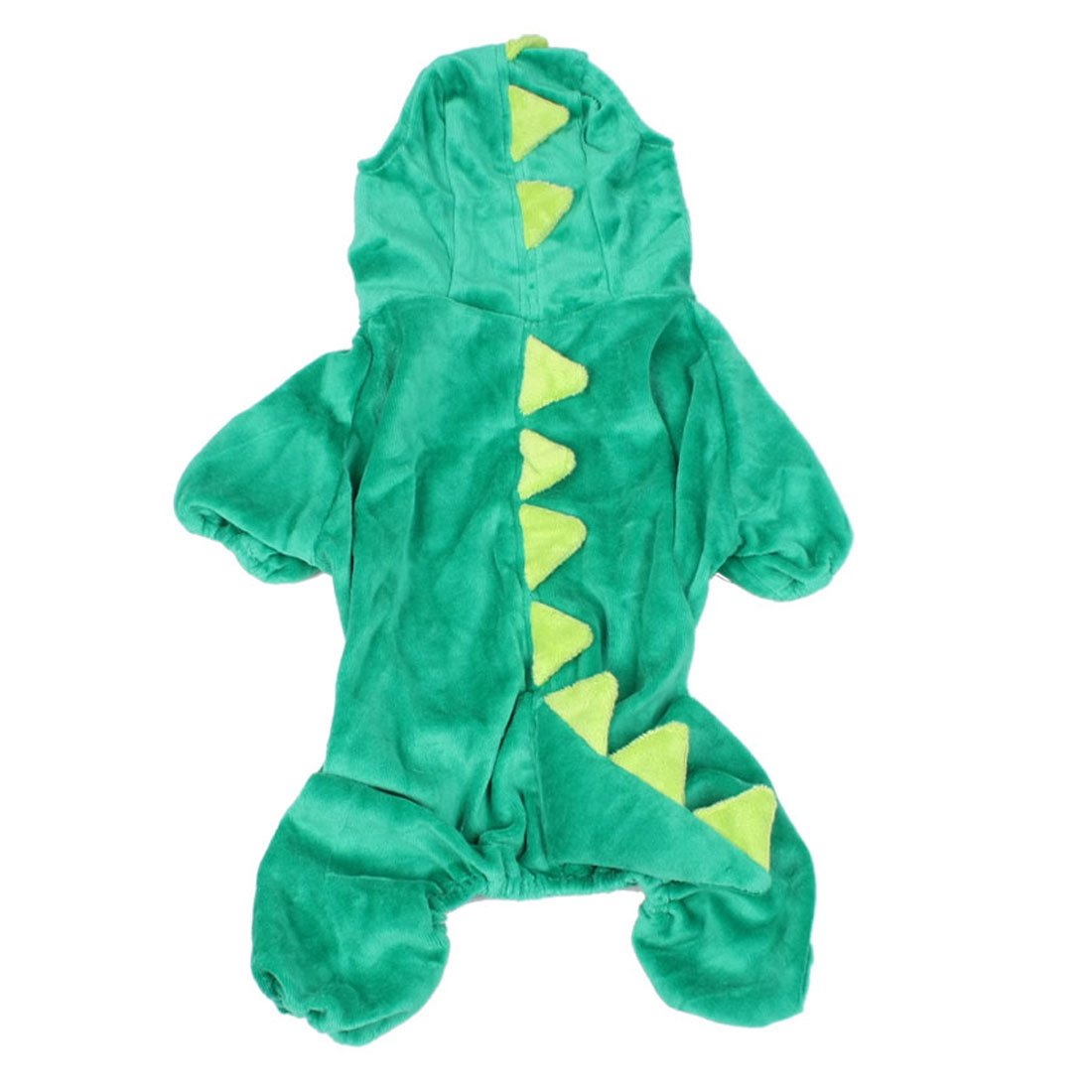 Christmas Festive Costume Plush Dinosaur Design Pet Dog Jumpsuit Apparel Green LL