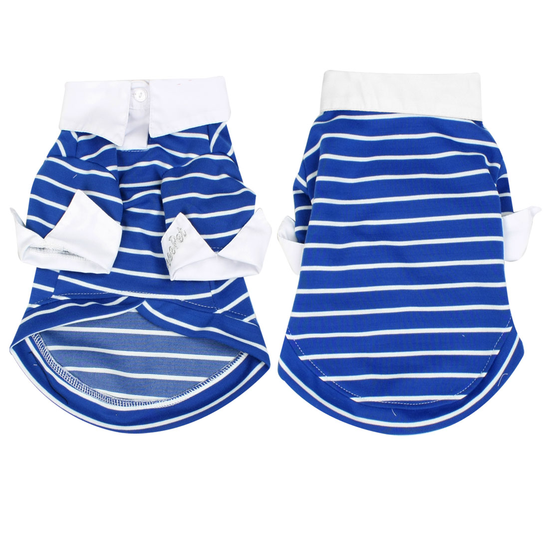 Summer Pointed Collar Striped Dog Clothes Pet Doggie Shirt Top Blue M