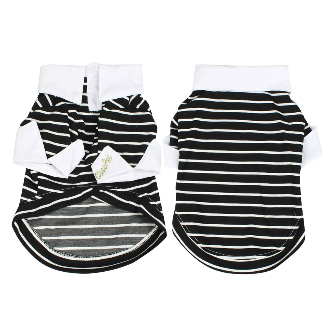 Black White Striped Shih Tzu Pet Dog Shirt Top Apparel Clothing L