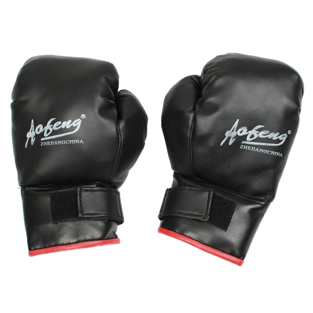 Adult Training Black Faux Leather Coated Wrist Wrap Boxing Gloves