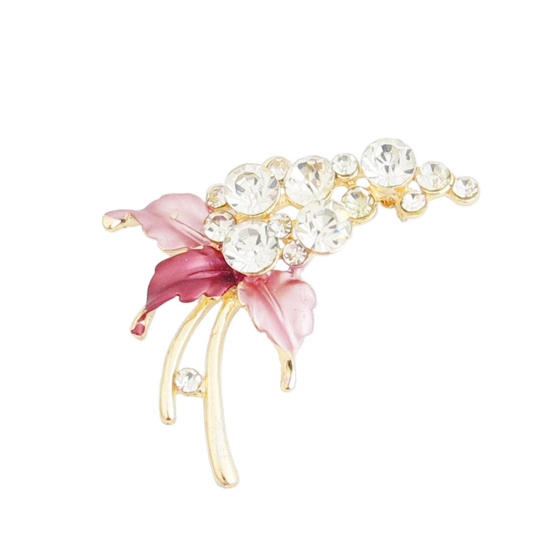 Dress Ornament Pink Leaf Rhinestone Accent Flower Branch Brooch Pin