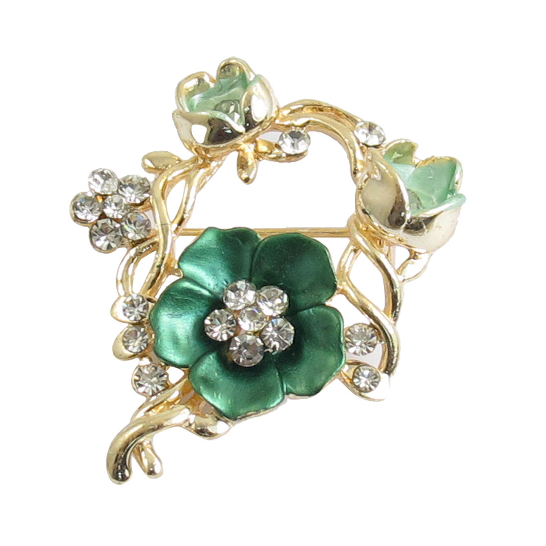 Dress Ornament Green Flower Rhinestone Accent Alloy Brooch Pin