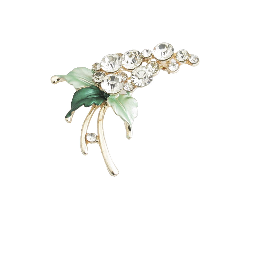 Dress Ornament Green Leaf Rhinestone Accent Flower Branch Brooch Pin