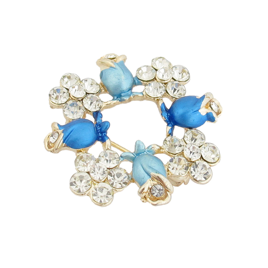 Blue Flower Rhinestone Inlaid Garland Brooch Breastpin Dress Ornament