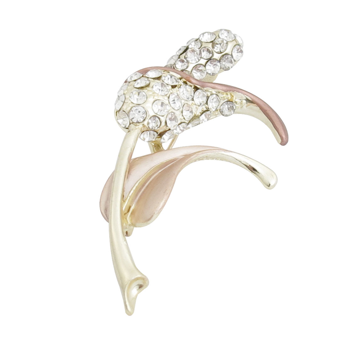 Bridal Decoration Champagne Leaf Rhinestone Inlaid Flower Branch Brooch Pin